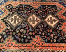 Black Persian Rug Vintage Persian Rug Tribal Bakhtiari Handknotted Rug 100