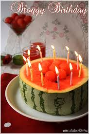 Watermelon Cake Decorating Ideas Bloggy Birthday Two Years U0026 Two Lakh Hits 4th Sense Cooking