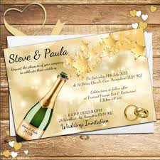 10 personalised champagne star burst wedding invitations day or