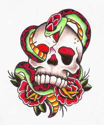 skull and snake designs roses and skull snake tattoos