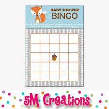 baby shower bingo fox baby shower bingo card printable bingo card printable baby
