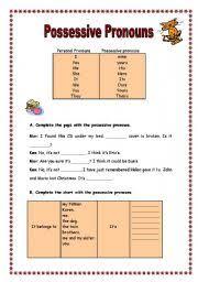 possessive pronouns worksheet by manuela nunes