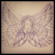 impressive praying angel tattoo drawing double hearts tattoo