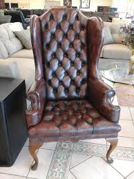 Table For Living Room by Furniture Antique Brown Leather Wingback Chair With Table And