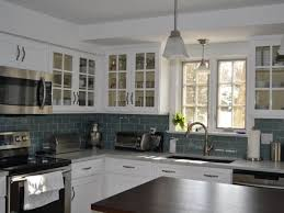 awesome glass subway tile kitchen backsplash on with ice gray