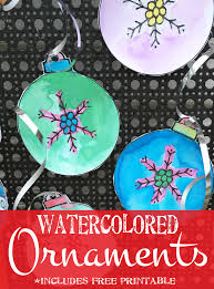christmas craft for kids crayon resist watercolored ornaments