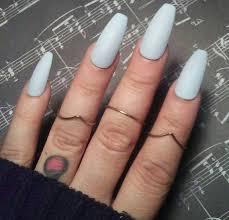 matte light blue coffin nails pastel blue press glue on