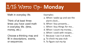 Thinking Map 2 15 Warm Up Monday Math In Everyday Life Think Of At Least