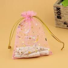 tulle bags 7x9cm mini pink organza bags drawstring pouches gifts bags wedding