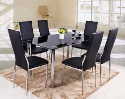 btm luxury black glass dining table set with 6 faux leather chairs