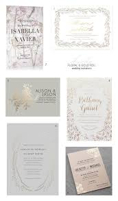Wedding Invitations Montreal Floral And Gold Foil Wedding Invitation Ideas Invitation Crush