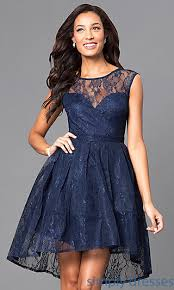 navy blue high low cheap homecoming dress