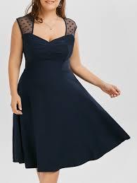 vintage mesh trim a line plus size dress purplish blue xl in