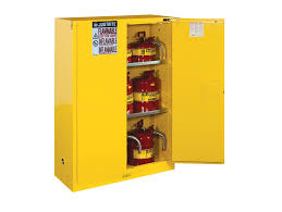 Yellow Flammable Storage Cabinet Flammable Safety Cabinet 60 Gal 2 Shelves 2 Door Justrite