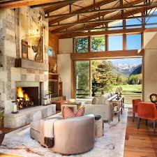 colorado mountain home by suman architects leaves your awestruck view in gallery captivating use of colorado sandstone and split brownstone for the fireplace wall