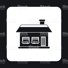 one storey house with two windows icon stock vector art 686632910