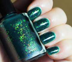 enchanted lake emerald green jelly u0026 colorshifting flakies nail
