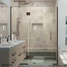 shop dreamline unidoor x 64 5 in to 65 in w frameless oil rubbed