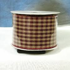 wired ribbon burgundy and beige primitive ribbon roll gingham plaid check wired