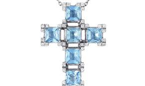crucifix jewelry jewelry salvini 18k white gold aquamarine and diamond crucifix