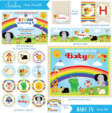 customized baby items baby tv birthday invitation and party kit