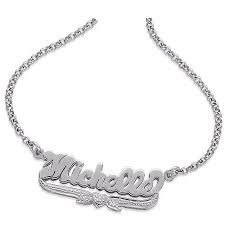 nameplate necklace personalized sterling silver nameplate necklace with diamond
