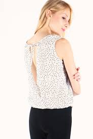 polkadot top dressabelle singapore tie back overlap polkadot top white