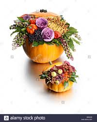 halloween flowers pumpkin flower arrangement halloween gift stock photo royalty