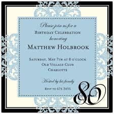 80th birthday invitations decorative square border blue 80th birthday invitations paperstyle