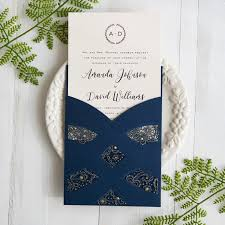 wedding invites navy blue laser cut pocket wedding invites swws027