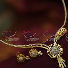 gold small necklace designs images Nl3529 latest small ad white stones stylish delicate design online JPG