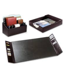 Executive Desk Organizer Bomber Jacket Desk Set Three Pieces Leather Desk Accessories