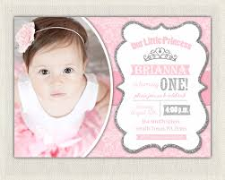 1st birthday princess invitation first birthday invitation silver and pink princess invitations