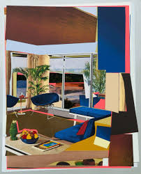 mickalene thomas interior blue couch and green owl 2016