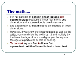 Square Foot by Ppt Calculating Board Feet Linear Feet Square Feet Powerpoint