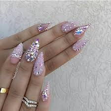 bling princess nails pink glitter gems stones created