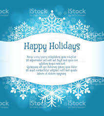 happy holidays blue background with snowflakes stock vector