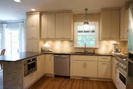 built in microwave cabinet kitchen traditional with backsplash