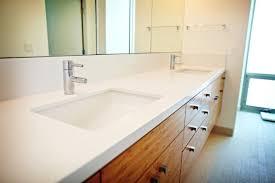 Seattle Bathroom Vanity by Caesarstone Quartz Original White Double Vanity Top W Knife