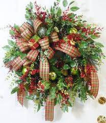 wreath with needle pine and plaid bow pine