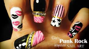 girly punk rock inspired nail art youtube