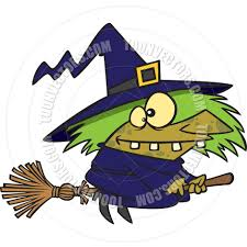 cartoon ugly witch flying on a broomstick by ron leishman toon