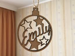 personalized christmas wooden name bauble custom gift christmas