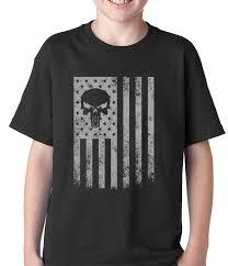 American Flag Skull Usa American Flag Military Skull Kids T Shirt