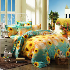 Sunflower Bed Set Free Shipping Sunflower Pattern Reactive Printing Flannel Bedding