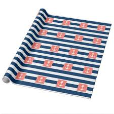 anchor wrapping paper nautical anchor navy stripes for all purpose wrapping paper