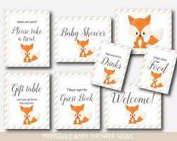baby shower signs fox baby shower table signs woodland table signs fox table signs