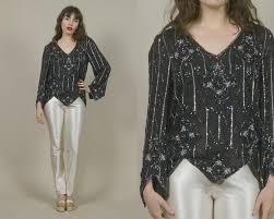 black sequin top beaded blouse stars 80s cocktail party disco art