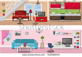set colorful vector interior design house stock vector 324920477