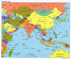 clear world map with country names asia map